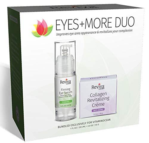 Reviva Labs Eyes + More Duo (Eye Firming Serum with Alpha Lipoic Acid Vitamin C Ester DMAE 1 oz and Collagen Regeneration Cream 2 oz)
