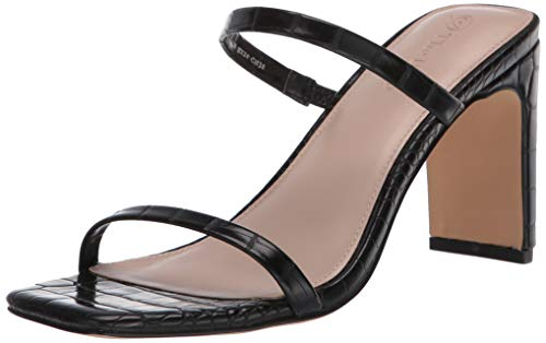 The Drop Women's Avery Square Toe Two Strap High Heeled Sandal, Black, 5
