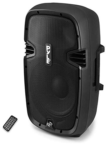 Powered Bluetooth PA Microphone System - 15' Active Bass Subwoofer Loudspeaker Built-in USB for MP3 Amplifier - DJ Party Portable Sound Stereo Amp Sub Concert Audio or Band Music - Pyle PPHP1537UB