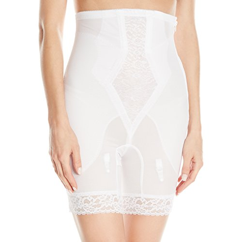 Rago Women's High Waist Medium Shaping Zipper Long Leg Shaper, White, 4X-Large (38)