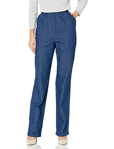 Chic Classic Collection Women's Petite Cotton Pull-On Pant with Elastic Waist, Original Stonewash Denim, 18P