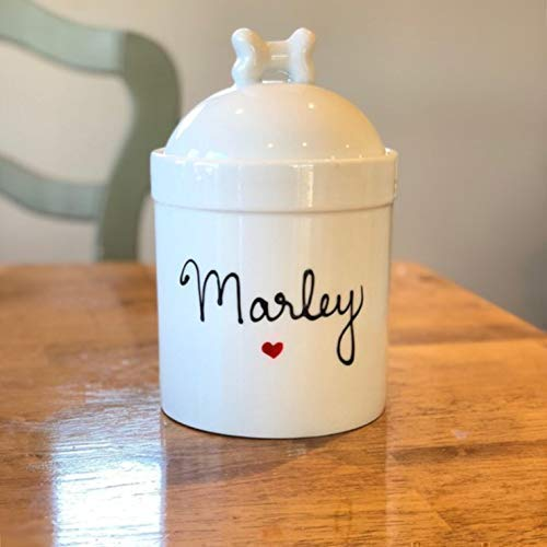 Airtight Pet Treat Container | Dog Cookie Jar Personalized with Name | Small Dog Treat Jar | Customized, Ceramic | With Bone Shaped Lid