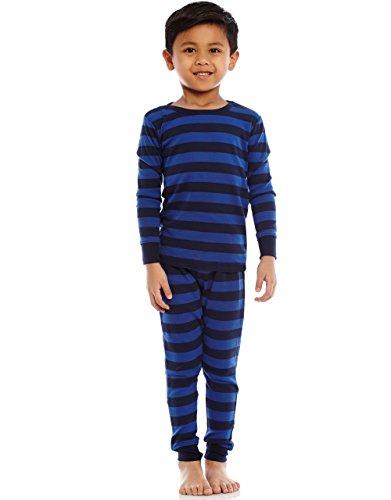 Leveret Striped Kids & Toddler Boys Pajamas 2 Piece Pjs Set 100% Cotton (5 Toddler, Blue & Navy)