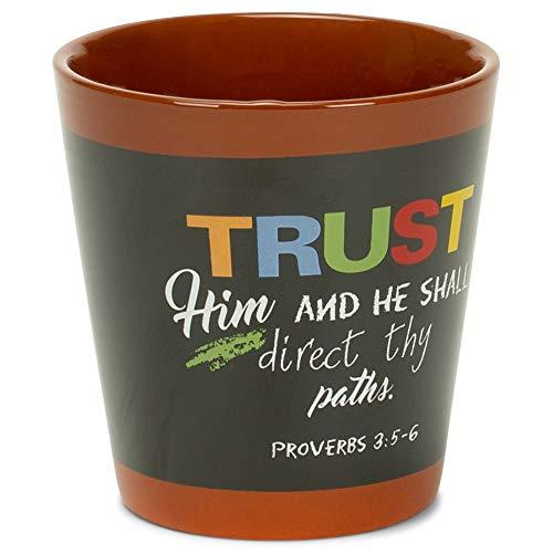 Trust Him Direct Thy Paths Proverbs 3:5-6 Black Chalkboard 3.5 x 3 Terra Cotta Flower Pot