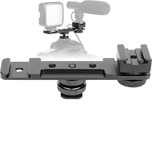ChromLives Hot Shoe Extension Bar Mount, Cold Shoe Extension Flash Bracket, Dual Straight Mount Flash Bracket Compatible with Nikon Canon Sony Olympus DSLR Camera Camcorder DV