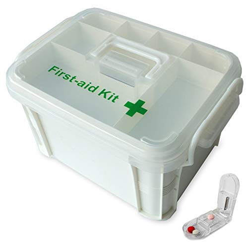 Portable handled medicine first aid box plastic medicine basic organizer holder. Family small safety emergency medical storage box kit travel, car, home, camping, office, vehicle + pill cutter (empty)