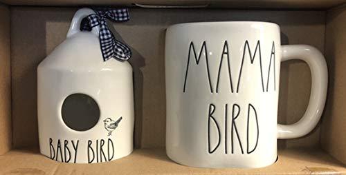 Rae Dunn LL BABY BIRD Round Mini Birdhouse & MAMA BIRD Mug Set