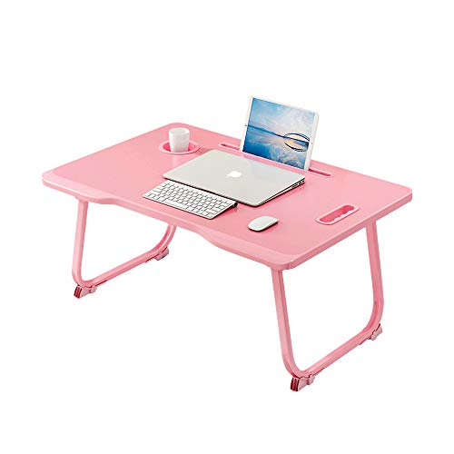 Laptop Bed Tray Table, Collapsible Laptop Bed Stand, Portable Standing Table with Foldable Legs, Tablet Table for Sofa Couch, Breakfast Tray, for Reading, Working, Writing in Bed or on Floor (Pink)