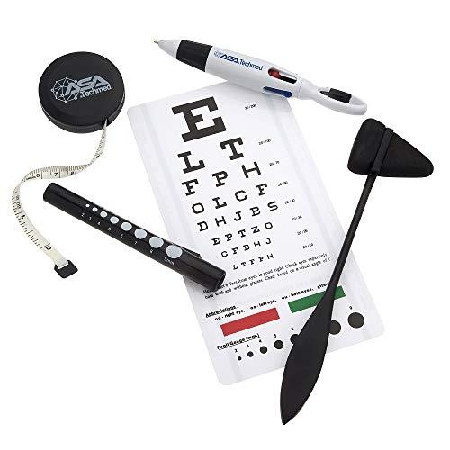 AsaTechmed Snellen Plastic Eye Chart with LED Penlight Pupil Gauge + Taylor Hammer + Tape Measure + 4 Color Pen