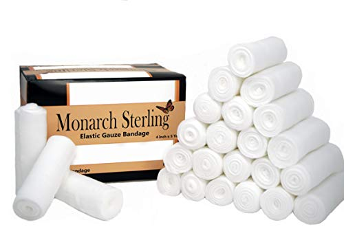 Monarch Sterling 4 Inch Non-Sterile Stretch Gauze Bandage for Wound Care and Dressing - 24 Rolls per Box