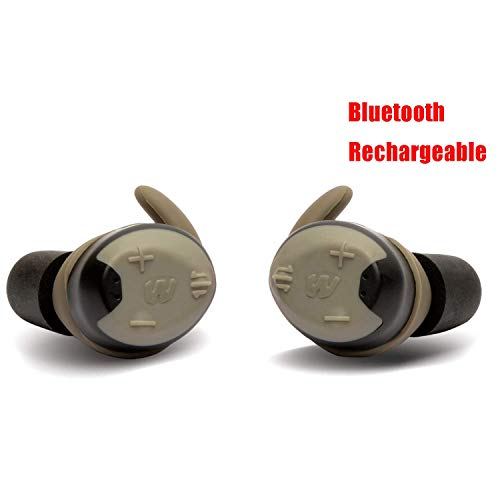 Walker's Silencer Bluetooth Digital Earbuds, Rechargeable, NRR23dB, Voice Prompts, Sound Activated Compression
