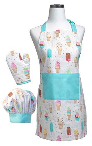 Handstand Kitchen Child's Ice Cream Parlor 100% Cotton Apron, Mitt and Chef's Hat Set