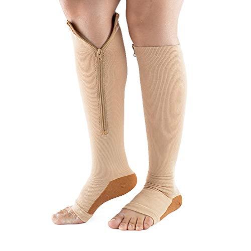 Compression Socks with Zipper Womens Graduated Compression Stockings L/XL