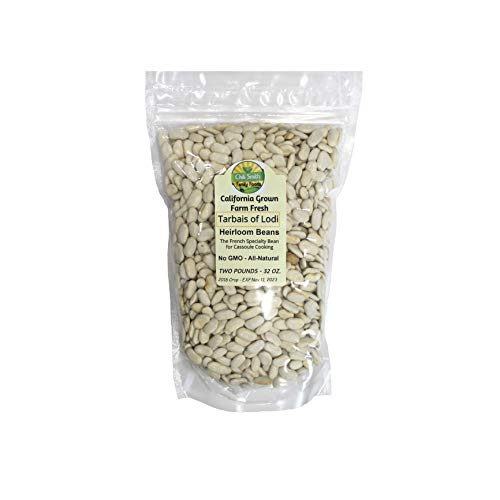 Tarbais of Lodi Heirloom Beans Non GMO 2 Pounds All Natural The French Speciality Bean for Cassoule Cooking