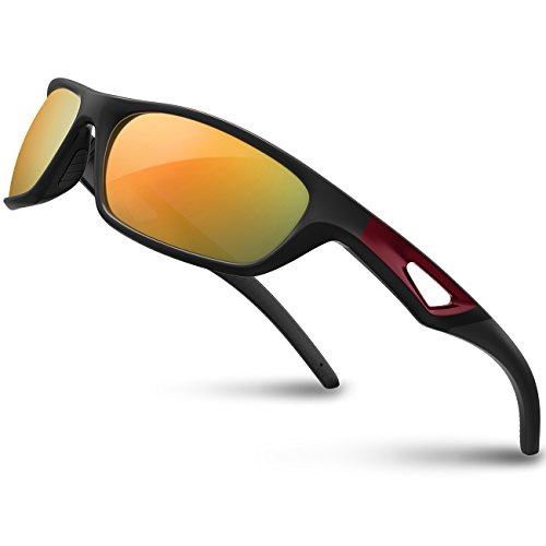 RIVBOS Polarized Sports Sunglasses Driving Sun Glasses Shades for Men Women Tr 90 Unbreakable Frame for Cycling Baseball Run Rb831 (Black&Red Mirror Lens), Large