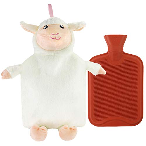 Hot Water Bottle Classic Premium Hot Rubber Bag with Cute Soft 3D Animal Cover (Easter Lamb)