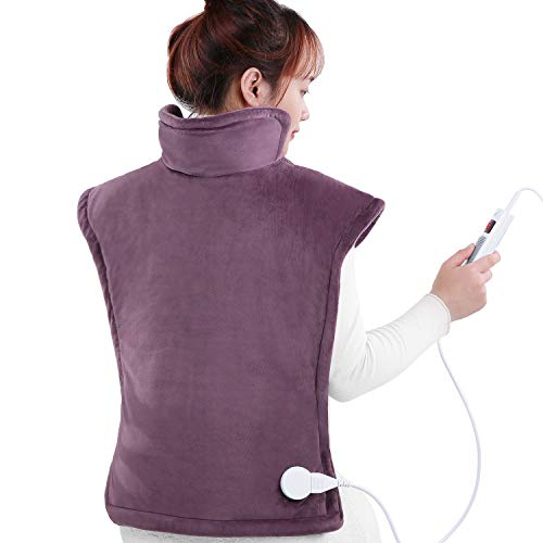 """Heating Pad for Neck and Shoulders for Back Large 24""""x33"""" with 1.5 Hours Auto Shut Off & 6 Heating Levels, Auto Shut Off Available,Purple"""