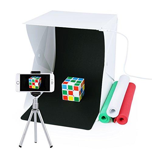 Portable Photo Studio,URiver Mini LED Light Box Kit Folding Table Top and 4 Backdrops Photography Lighting Tent (Size:9.5' x 9.5' x 8.7')