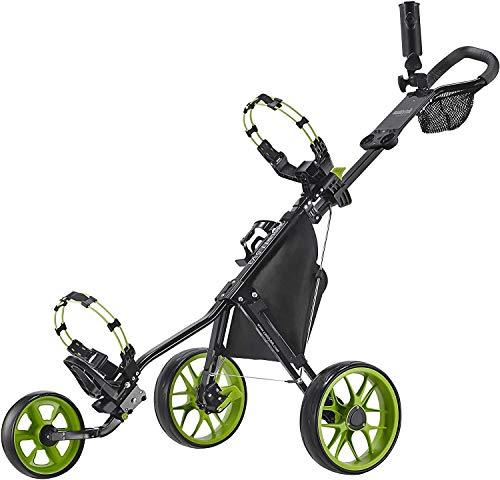 Caddytek CaddyLite 11.5 V3 3 Wheel Golf Push Cart - Superlite Deluxe, Lightweight, Easy to Fold Caddy Cart Pushcart, Black/Lime