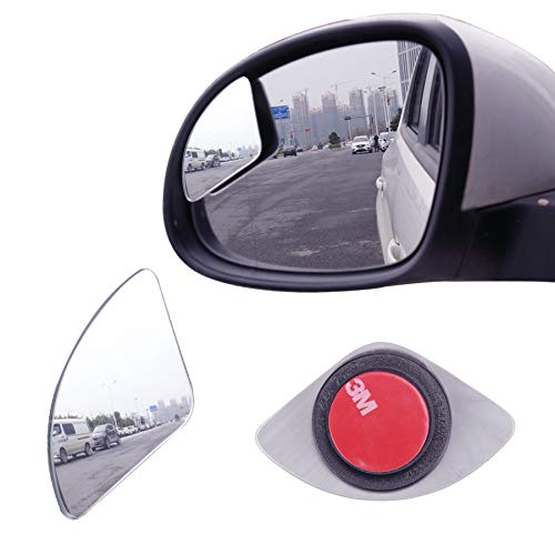 LivTee Blind Spot Mirror,Newest Fan Shaped HD Glass Frameless Convex Rear View Mirror with wide angle Adjustable Stick for Cars SUV and Trucks, Pack of 2