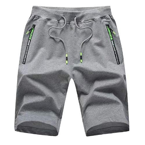 Tansozer Men's Casual Shorts Elastic Waist Comfy Workout Shorts Drawstring Summer Jogger Shorts with Zipper Pockets (Dark Gray, Large)