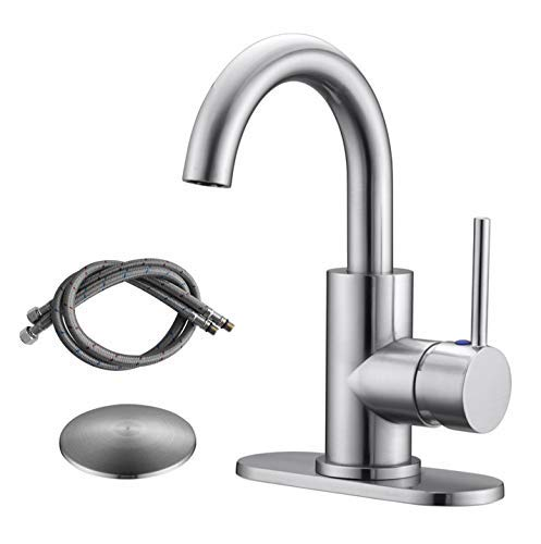 RKF Single-Handle Swivel Spout Bathroom Sink Faucet with Pop-up Drain with Overflow and Supply Hose,Bar Sink Faucet,Small Kitchen Faucet Tap,Brushed Nickel,BF3501P-BN