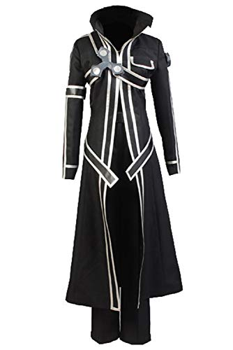 Ya-cos Halloween Costume Men's Kirito Anime Cosplay Battle Suit ,Black,Small