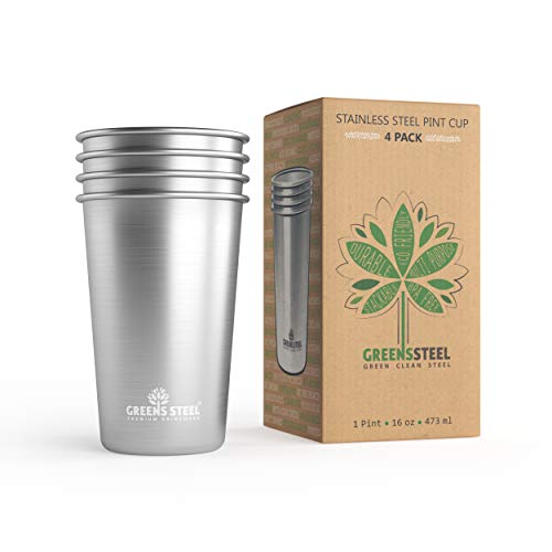 #1 Premium Stainless Steel Cups 16oz Pint Cup Tumbler (4 Pack) By Greens Steel - Premium Metal Cups - Stackable Durable Cup