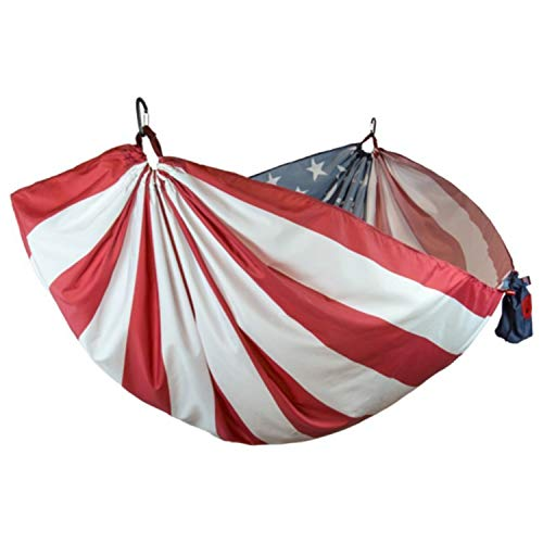 GRAND TRUNK Single Hammock with Carabiners and Hanging Kit - Lightweight, Portable, Parachute Nylon Hammock - Perfect for Outdoor Adventures, Backpacking, and Festivals, United States Flag