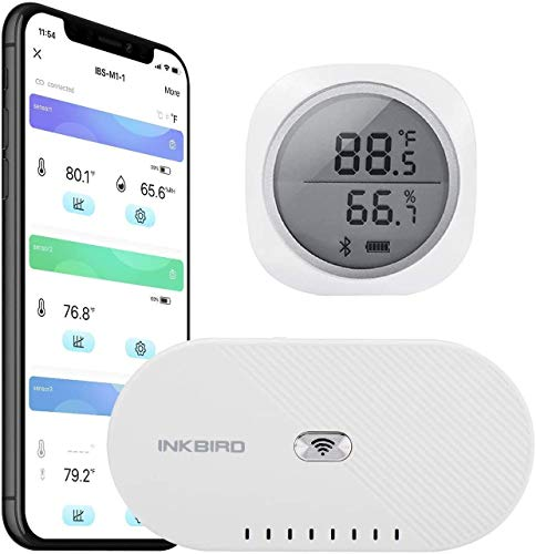 Inkbird IBS-TH1 Plus Bluetooth Temperature and Humidity Monitor and IBS-M1 WiFi Gateway Supports Bluetooth and Wireless Connection with Save and Export Data Real Time and Remote Monitoring and Alert