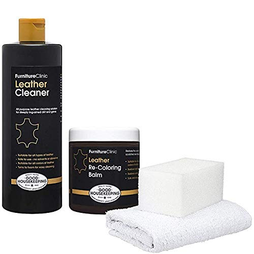 Furniture Clinic Leather Easy Restoration Kit | Set Includes Leather Recoloring Balm & Leather Cleaner, Sponge & Cloth | Restore & Repair your Sofas, Car Seats & Other Leather Furniture (Medium Brown)