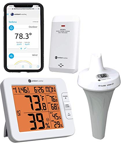 Ambient Weather WS-8482-3107 7-Channel WiFi Remote Monitoring Weather Station with Indoor/Outdoor Temperature & Humidity, Floating Pool, Spa & Pond Thermometer