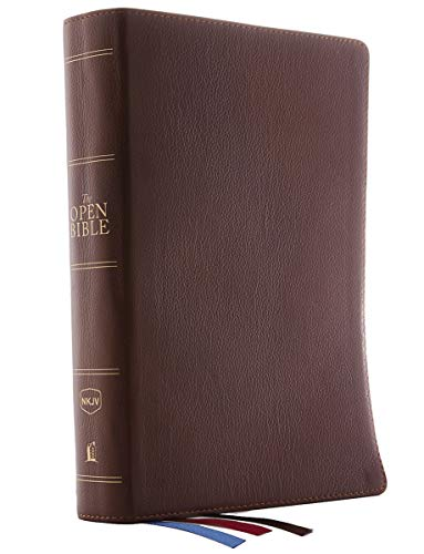 The NKJV, Open Bible, Genuine Leather, Brown, Red Letter, Comfort Print: Complete Reference System