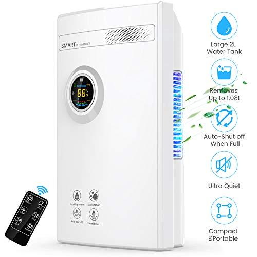 Dehumidifier for Home, DUSASA 2000ML (68oz) Portable Quiet Dehumidifiers 323 Sq.Ft Small Dehumidifier for Basement, Bedroom, Bathroom, Garage, RV, Closet, Caravan (White)