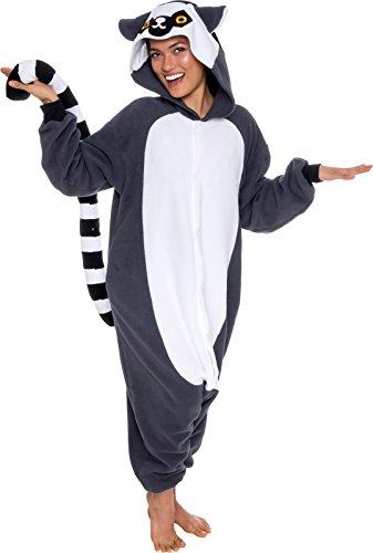Silver Lilly Unisex Adult Pajamas - Plush One Piece Cosplay Lemur Animal Costume (Gray/White, Large)