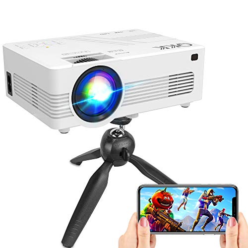"""[WiFi Projector] QKK Upgraded 6500Lumens Projector, Full HD 1080P Supported Mini Projector [Tripod Included], Max 200"""" Display, Smartphone/HDMI/AV/USB/TF/Sound Bar/TV Stick Supported"""