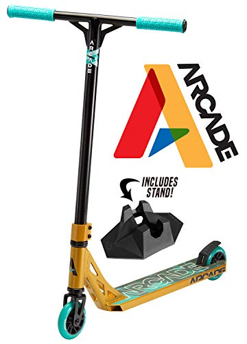 Arcade Pro Scooters - Stunt Scooter for Kids 8 Years and Up - Perfect for Beginners Boys and Girls - Best Trick Scooter for BMX Freestyle Tricks (Gold/Teal)