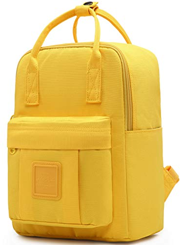 BESTIE 12' Small Backpack for Women, Girl's Cute Mini Bookbag Purse, Little Square Travel Bag, Yellow