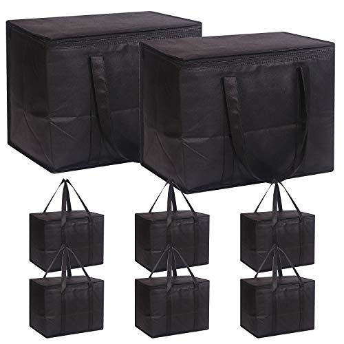 Set of 8 Large Insulated Reusable Grocery Bags with Sturdy Zipper and Handles, Foldable Washable Heavy Duty Cooler Totes for Hot or Cold Food Delivery, Groceries, Travel, Shopping