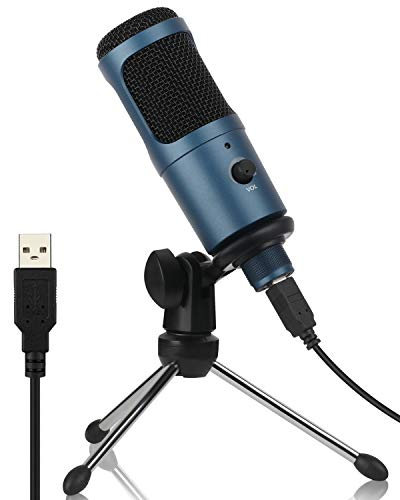 USB Microphone, XIHOU Cardioid Recording Microphone, 192kHz/24bit Condenser Mic Compatible with PC Laptop Mac Windows, Plug&Play Computer Microphone for Podcasting, Gaming, Streaming, YouTube (Blue)