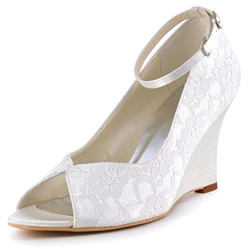 ElegantPark WP1415 Lace Wedding Shoes for Bride Wedges Peep Toe Bridal Shoes High Heel Pumps Ankle Strap Wedding Shoes Ivory US 9