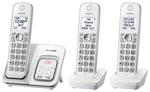 Panasonic Expandable Cordless Phone System with Answering Machine and Call Block - 3 Cordless Handsets - KX-TGD533W (White/Silver)