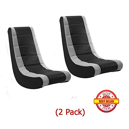 Game Chairs Video Rocker Mesh Racing Stripe Grey Best Gift for Kids,Teens,Adults Boys Or Girls Seat Vinyl for Games,Tv Room 17W x 15.5D x 39H in. (2 Pack)