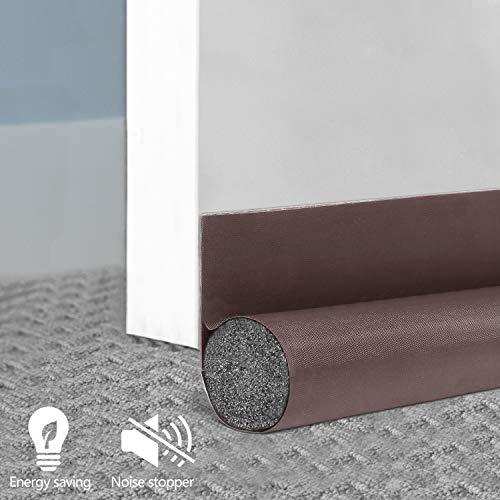 BAINING Energy Saving Under Door Draft Stopper, Indoor Weather Stripping, Noise Stopper Door Sweep, Soundproof Door Seal Bottom, Door Insulator 2.5' Width X 36' Length, Brown