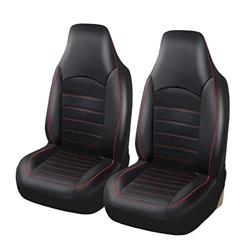 TOYOUN Classic Universal PU Leather Car Front Seat Covers High Back Bucket Seat Cover - Fit Most Cars, Trucks, SUVS, or Vans 2 PCS Red Trim Auto Seat Covers Set Car Seat Protector for All Seasons