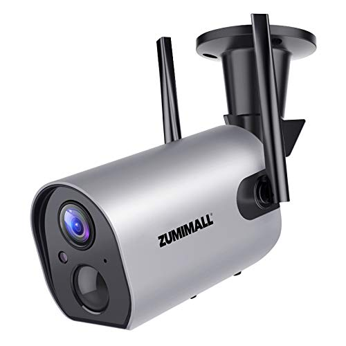 Outdoor Security Camera Wireless WiFi, ZUMIMALL Rechargeable Battery Powered Home Security Camera with Mobile App, Night Vision/Waterproof, Human Motion Detection, 2-Way Audio, 4DBi Antenna, Cloud/SD