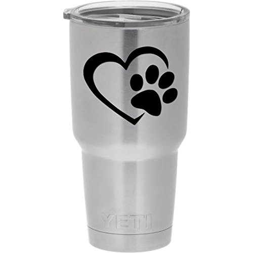 Dog Paw Heart Decal (Black) for dog and animal lovers. Genuine ViaVinyl brand for windows, laptops and Macbooks, iPads and Tablets, iPhones and cell phones, Yeti and Rtic tumbler cups, and more!