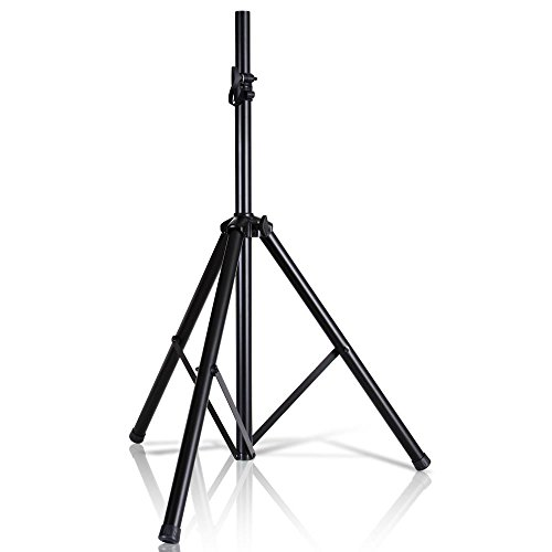 """Pyle Universal Speaker Stand Mount Holder Heavy Duty Tripod w/ Adjustable Height from 40"""" to 71"""" and 35mm Compatible Insert Easy Mobility Safety Pin and Knob Tension Locking for Stability PSTND2"""