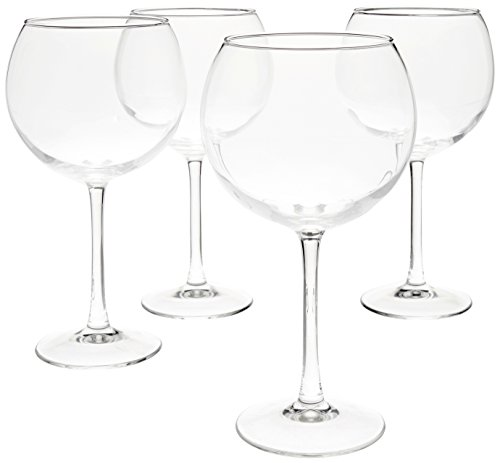 AmazonBasics Red Wine Balloon Wine Glasses, 20-Ounce, Set of 4