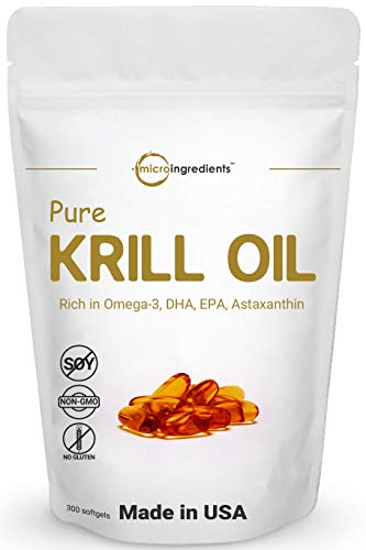 Antarctic Krill Oil Supplement, 1000mg Per Serving (Double Strength), 300 Soft-Gels, Rich in DHA, EPA & Astaxanthin, Supports Immune System & Brain Health, Premium Krill Oil Capsules (Liquid)